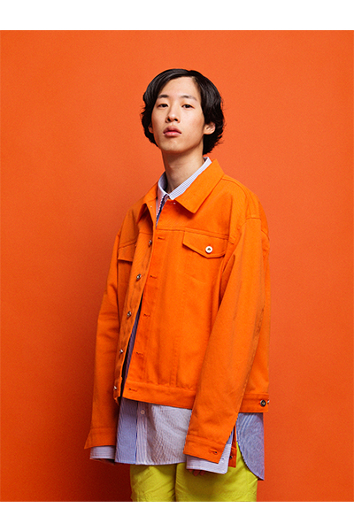 TRUCKER JACKET W/ BADGES (ORANGE)