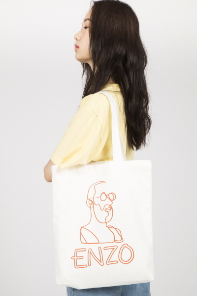 ENZO DRAWING PRINTED CANVAS BAG (WHITE / ORANGE)