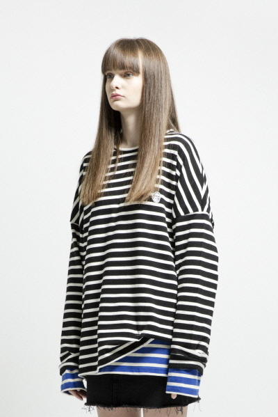 OVERSIZE STRIPE LST (BLACK / WHITE)