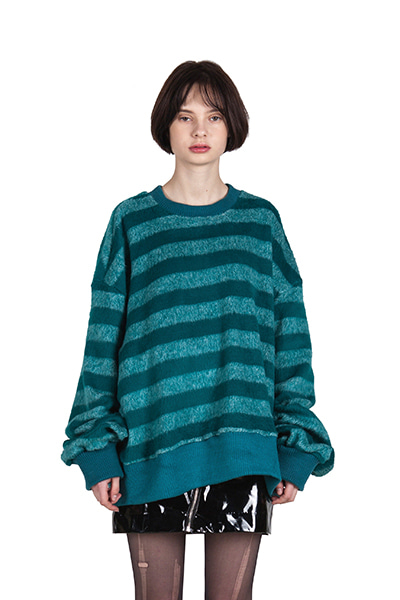 OVERSIZE STRIPE SWEATER (GREEN)