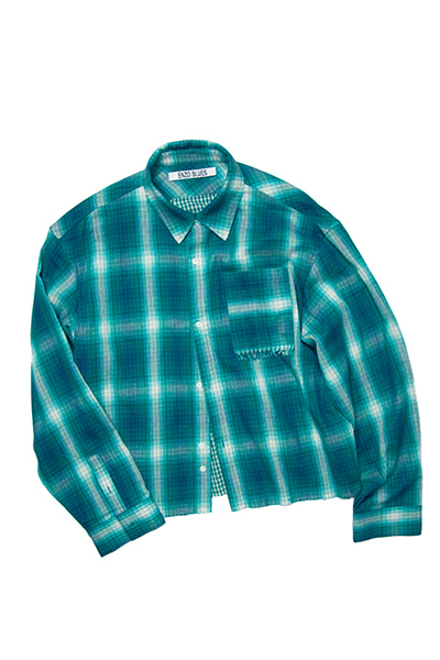 CROPPED CHECK SHIRT (GREEN)