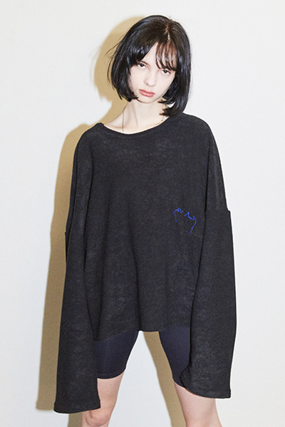 CROPPED TERRY SWEATER (BLACK)