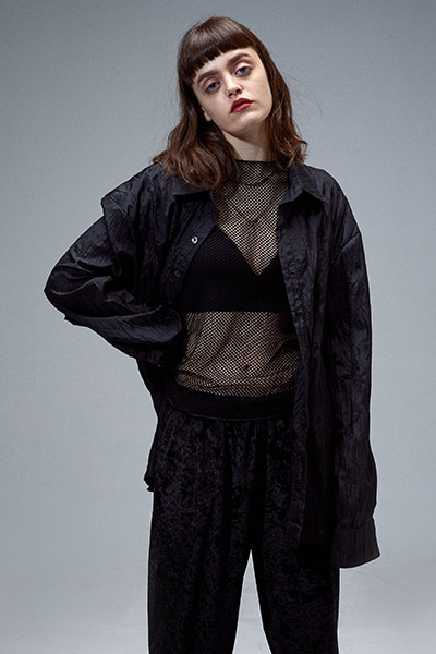 WRINKLED LONG SHIRT (BLACK)