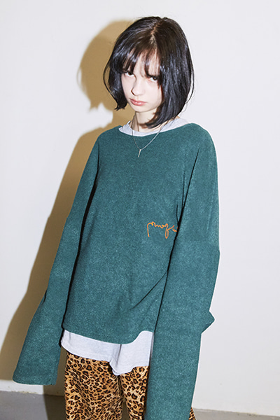 CROPPED TERRY SWEATER (GREEN)