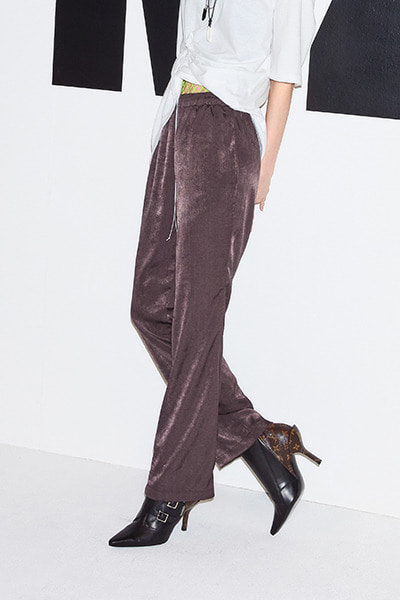 CHIFFON BOOTCUT PANTS (BROWN)