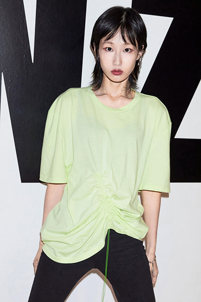SHIRRING T-SHIRT (LIME)