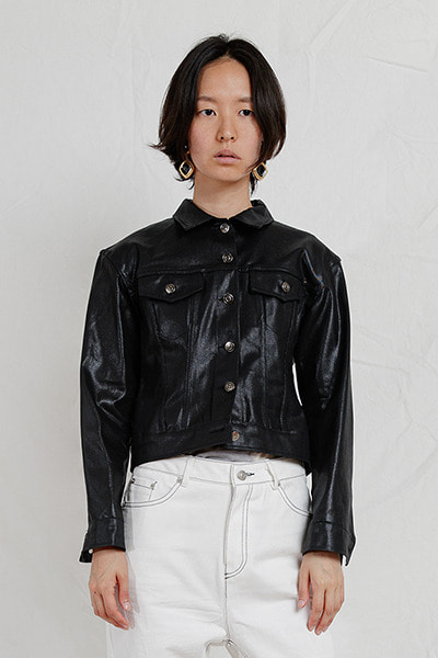 CRYSTAL TRUCKER JACKET (BLACK)