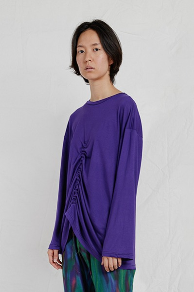 LONG SLEEVE SHIRRING TOP (PURPLE)