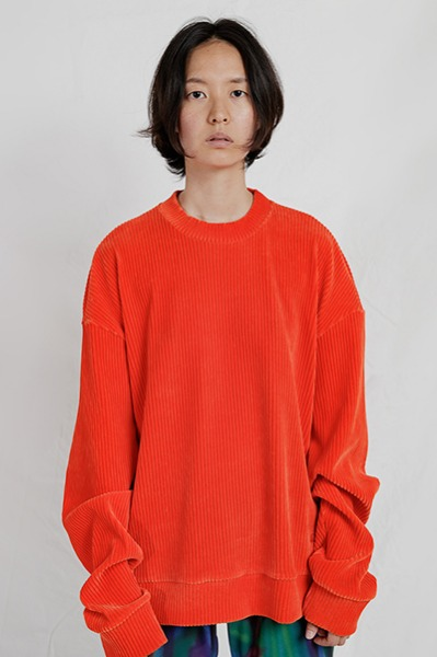 LOOSE FIT CORDUROY SWEATSHIRT (ORANGE)