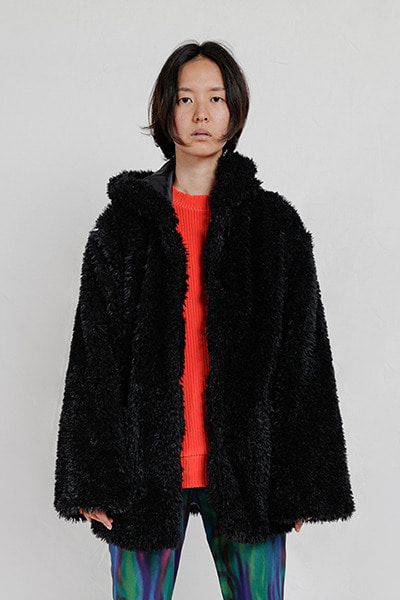 FAUX FUR HOODED COAT (BLACK)