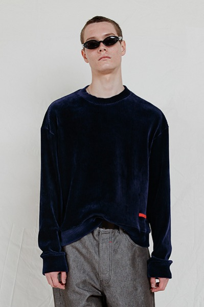 LOOSE FIT CORDUROY SWEATSHIRT (NAVY)