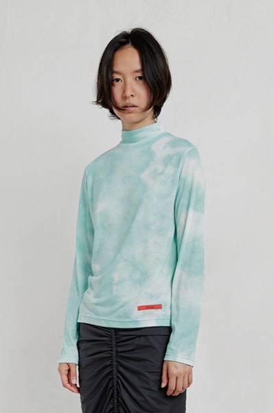 TIE DYE MOCK NECK TOP (MINT)
