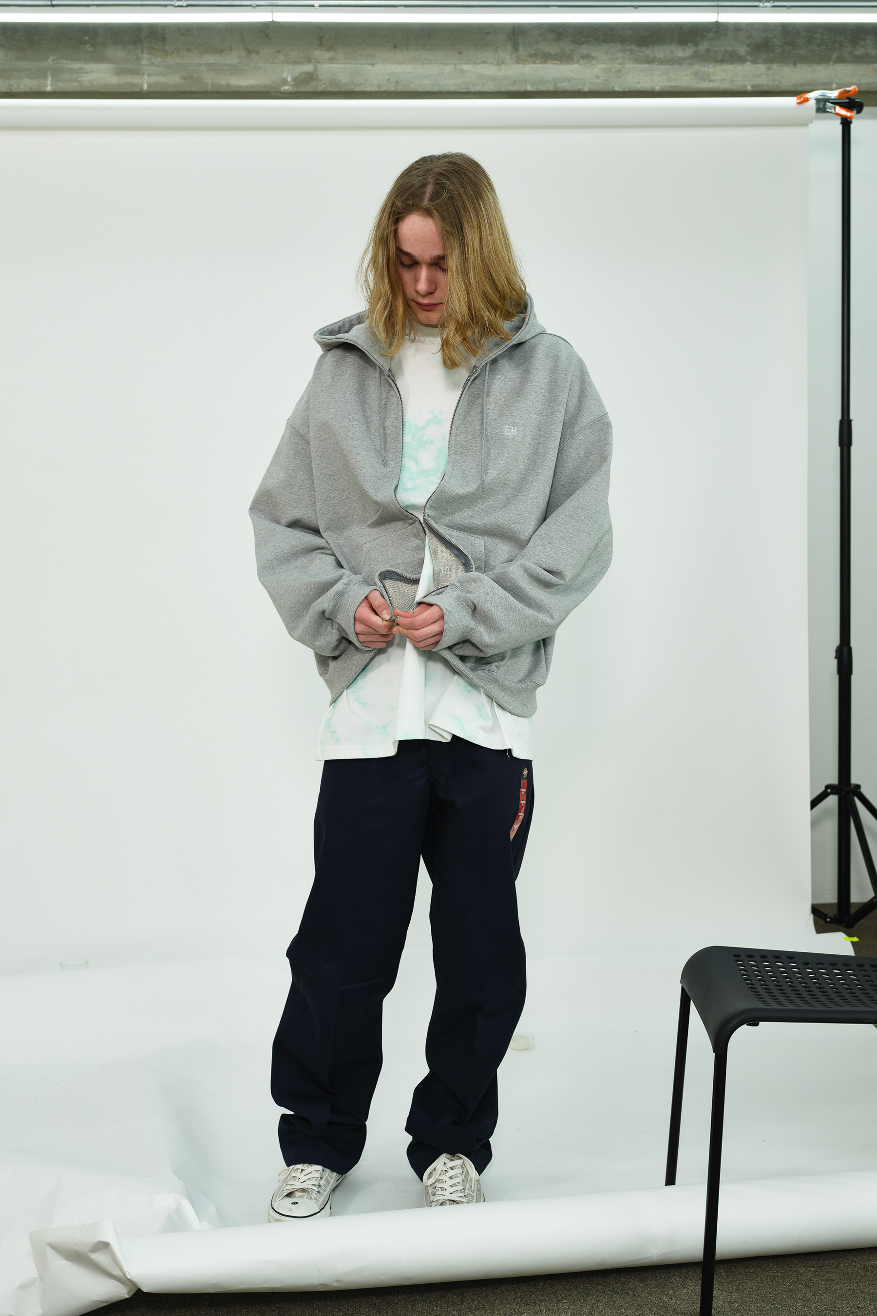 EB Oversize Heavy Hoodie Zip Up (Grey)