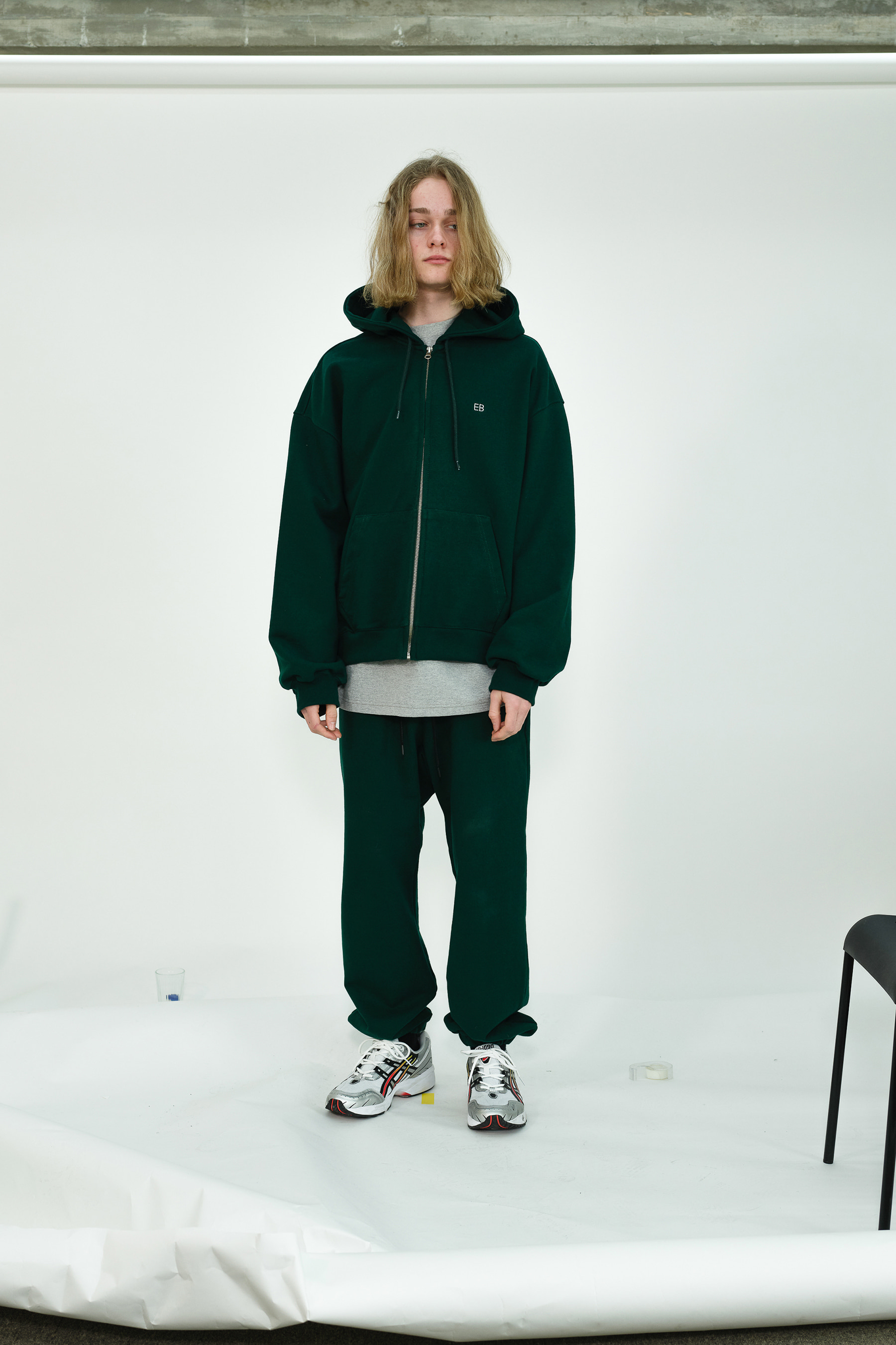 EB Oversize Heavy Hoodie Zip Up (Deep Green)
