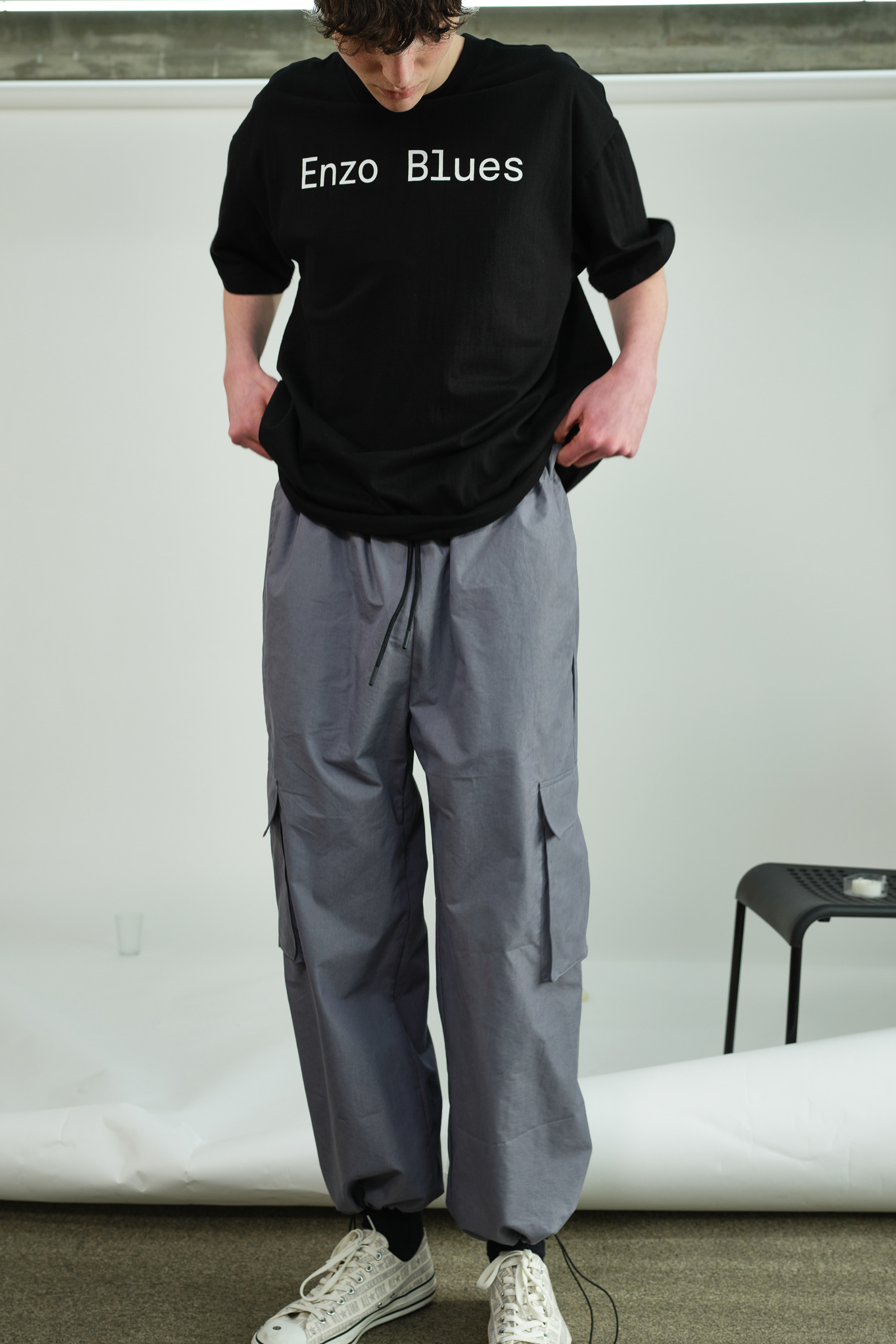 Wide Cargo Jogger Pants (Storm Grey)
